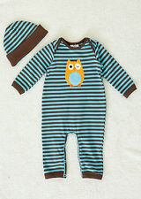 NWT Boys 'n Berries Baby Boy Infant Striped One Piece with Hat  ~ 0-3M