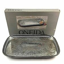 Oneida Ridgewood Oblong Silverplate Gallery Serving Tray Platter Etched Usa