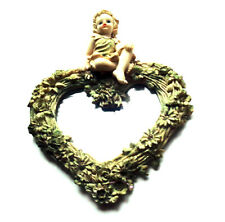Vintage Angel Heart Mirror Wall Hanging Home Decor - 1980s