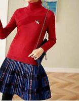 AUTH Ted Baker GEMEMMA Wool Blend Woven Knitted A-Line Dress, 0-5