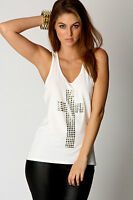 Ladies Vest Womens Cross Print Gold Studded T Shirt Tank Stretch Sleeveless TOP