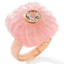 Rose Quartz and White Topaz Rose Vermeil Ring Size 7 $129.90