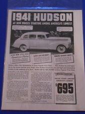 Vintage Original Automobile Advertisement Ad 8 x 11 1941 Hudson