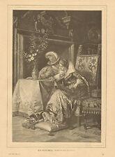 Romance, Early Fashion, Home Interior, German, Vintage, 1887 Antique Art Print,