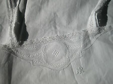 """ANTIQUE FRENCH NIGHTDRESS-SLIP DRESS-Crochet Lace-Embroidery-Monogram """"HR""""-1930"""