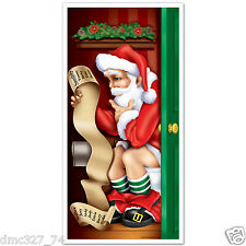 1 CHRISTMAS Party Decoration Prop BATHROOM Restroom SANTA CLAUS DOOR COVER