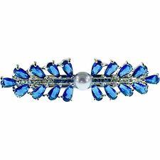 USA PEARL BARRETTE use Swarovski Crystal Hair Clip Hairpin Elegant Blue K06