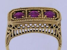 R259- Genuine 9ct Solid Gold NATURAL Ruby Filigree BRIDGE Trilogy Ring size O
