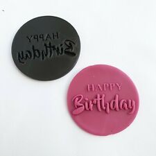 Happy birthday cookie embosser stamp fondant bake decorate customise outbosser