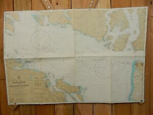 VINTAGE CANADA HS Nautical Chart SAND HEADS BALLENAS ISLANDS 39x26 Sailing Map