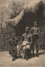 The King of Assinie. Côte d'Ivoire. Ivory Coast 1885 old antique print picture