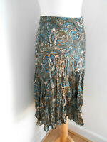 BNWT Marks & Spencer brown paisley pattern print A line skirt 16 NEW