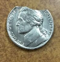 1985 P Jefferson Nickel with 2 overlapping curved clips  error
