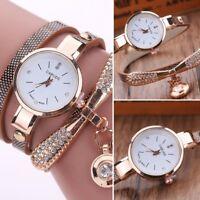 Stylish Women Ladies PU Leather Rhinestone Analog Quartz Wrist Watches New Watch