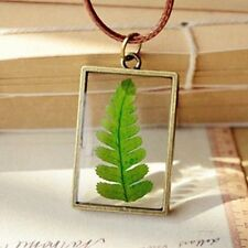 Real Plant Jewelry Resin Glass Necklace Botanical Pressed Flower Pendant Gift