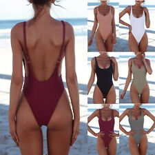 Women's Plain Backless Monokini Swimsuit Padded Push Up Bikini Bathing Swimwear