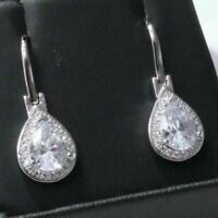 2.5 Ct Pear Cubic Zirconia Earring Drop Women Wedding Jewelry 14K Gold Plated