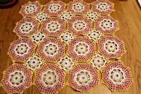 "Beautiful Vintage doily crocheted Square Crochet Handmade Table Runner 17"" x 17"""