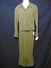 TAIGA Paris Womens Skirt Suit Small Olive Jacket/Skirt Pencil Straight USA New