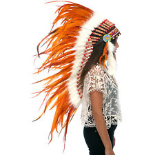 CLEARANCE PRICE! Long Native American Indian Inspired Headdress - Full Orange