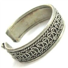 Adjustable Narrow Tibetan White Copper Filigree Weaving Dotted Amulet Ring