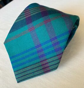 "Pendleton Wool Tie. Plaid. Green, Blue & Purple. 3.75"""