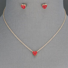 Gold Chain Dainty Small Red Rhinestone Heart Pendant Necklace With Earrings