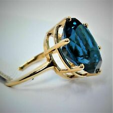 3Ct Oval London Blue Topaz Solitaire Engagement Ring in 14K Yellow Gold Finish