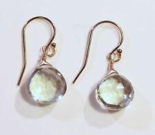 Greenwood Designs Pale Green Faceted Quartz 14k gf Gold Dangle Earrings