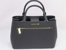 NWT MICHAEL KORS SAFFIANO LEATHER HAILEE MEDIUM SATCHEL BAG IN BLACK