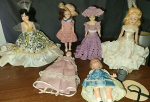 Vintage Lot of 6 Plastic~Celluloid~Wood~DOLLS Various Materials & Heights ❤LOOK!