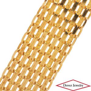Italian 14K Gold Elegant Wide Mesh Link Bracelet 10.5 Grams NR