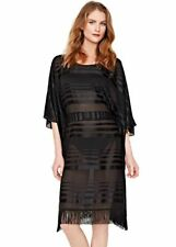 NWT $330 Gottex Regatta Black Caftan Fringe Swimsuit Cover-Up Dress Women's S