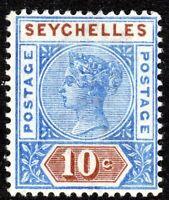 Seychelles 1892 ultramarine/brown 10c crown CA Die II mint SG12