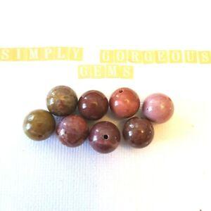 8 Pretty Round Portuguese Agate Gemstone Beads - 12 mm