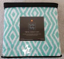 NEW Cynthia Rowley Twin Size Bed Sheet 3PC Set Microfiber Mint Green Diamond X