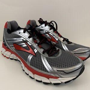 BROOKS DEFYANCE 9 Silver Red Running Walking Shoe GTS Men's US 10 D NIB