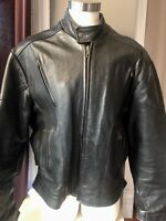 VTG 90'S*NICE!BLACK HEAVY DUTY LEATHER MOTORCYCLE JACKET MESH LINED*50 XL