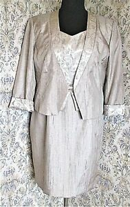 Two piece suit by ROMAN Size16-18 Dress jacket Gold shimmer sheen Party Wedding