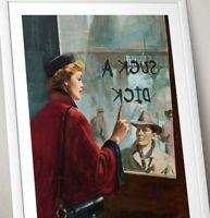 Vintage Print, Lady on train re-worked painting Art Print, Vintage artwork,