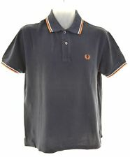 FRED PERRY Mens Polo Shirt Medium Navy Blue Cotton  DZ14