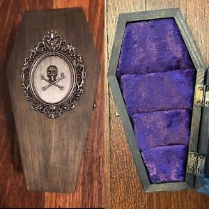 Vintage Inspired Coffin Ring Jewelry Box Engagement Wood Victorian Gothic