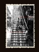 1940s CHILDREN BOYS GIRL PLAY LADDER STREET B&W Vintage Hong Kong Photo #1704