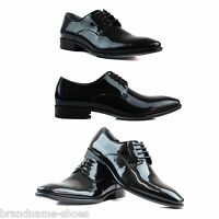 ZASEL MENS BLACK LEATHER PATENT LACE WORK MEN'S FORMAL CASUAL WORK DRESS SHOES