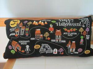 NWT FAO Schwarz Black Embroidered Halloween Candy Lane Lumbar Feather Pillow