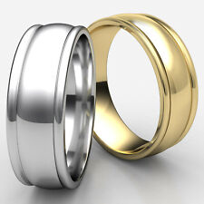8mm Round Edge Dome Wedding Band Men's Women's 14k White-Yellow-Rose Gold Ring