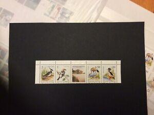 1991 Yugoslavia Protected Birds Strip of 4 + Label Unmounted Mint