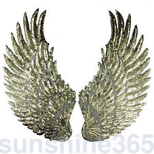 Lots Sequin Iron Or Sew On Wings Gold Silver Embroidery Patch Applique