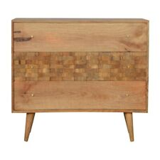 Solid Wood Tile Carved Chest Of Drawers