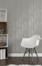 LOVE YOUR HOME METALLIC GREY SILVER WOOD PANEL WALLPAPER FINE DECOR FD41960